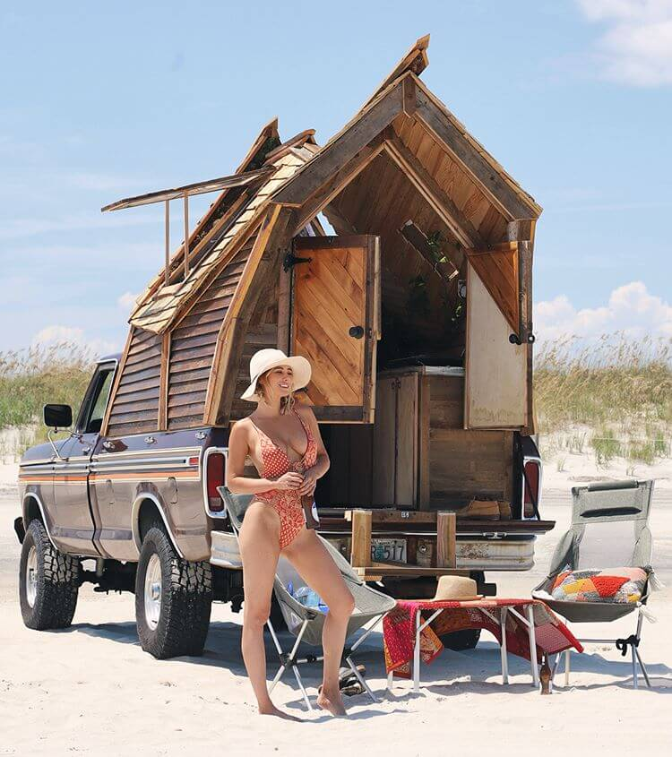 Ford Truck Wooden Camping Cabin